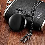 KUELXV sportinggoodsReloj de Bolsillo mecánico de Cuerda Manual de Acero Inoxidable Completo con Cadena de Fob Relojes de Hombre para Grabado con láser sin batería, diseño 2