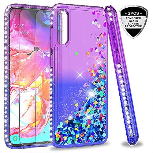LeYi für Samsung Galaxy A70 Hülle Samsung A70s Glitzer Handyhülle mit Panzerglas Schutzfolie(2 Stück), Diamond Cover Bumper Schutzhülle für Case Samsung Galaxy A70 Handy Hüllen ZX Purple Blue