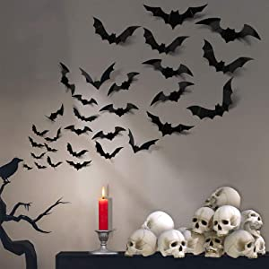 FilmHoo 72 Pcs 12 Sizes Halloween Decorations PVC 3D Bats Wall Decor for Halloween Party Supplies Scary Bats Wall Stickers Set DIY Bat Clings for Halloween Home Decor Indoor Outdoor ( Black )