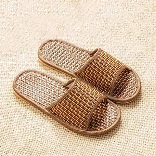 LBWT Huishoudelijke Koele Slippers - Linnen Mat Slippers Bamboe En Rotan Weven Anti-slip Indoor Huis Slippers Niet-Verwijderbare Slippers