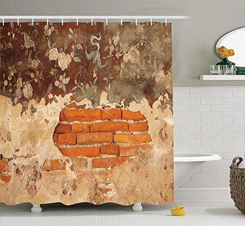 XZLWW Antike alte historische Florale Wandmalerei eine Wand Beton Ziegel rustikale Badezimmer Duschvorhang Set Orange Beige 150x180CM A