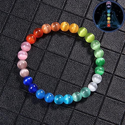 YUNHE Pulsera de 7 Chakras, Pulseras de Ojo de Gato Multicolor, Pulseras de Piedra Natural curativas de Reiki arcoíris para Mujeres y Hombres, Regalo de joyería de Moda