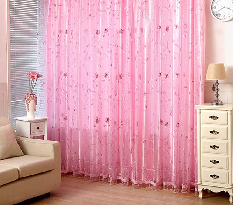Aside Bside Romantic Pink Floral Embroidered Sheer Curtains Rod Pocket Voile Panels Natural Style For Living Room Girl S Room 1 Panel W 100 X L 95 Inch Pink
