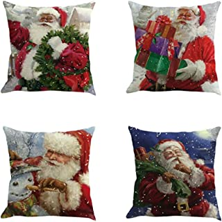 TOPBIGGER Set of 4 Pillow Covers, Christmas Throw Pillow Covers Merry Christmas Series Blend Linen Cushion Cover Pillowcase Christmas Pillow Sham 18x18(Christmas Snowman, Santa Claus)