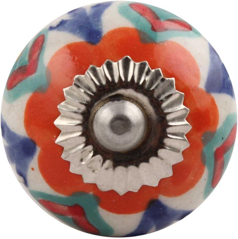 IndianShelf 14 Piece 激安価格と即納で通信販売 Handmade 新発売 Orange Draw Ceramic Dresser Floral