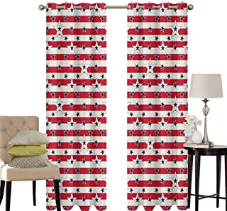 hengshu USA Grommet Curtains for Bedroom Patriotic Pattern Love My Country Continent American Federal Freedom Image for Backdrop Curtain W42 x L84 Inch Coconut Navy Blue Red