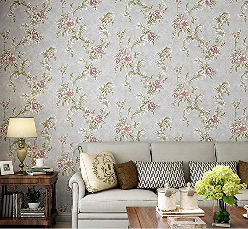 Papel pintado 3D Flor no tejido Papel pintado Color café claro para decoración de pared de dormitorio y hogar, papel pintado minimalista de lujo 0.53mx9.5m