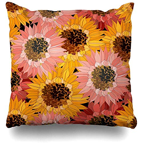Asekngvo Throw Pillow Case Tamaño Cuadrado 18'x18 Creativo Flor marrón Naranja Rojo Girasoles Naturaleza Floral Amarillo Flor Abstracta Color