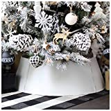 AuldHome White Farmhouse Tree Collar, 30-Inch Diameter Base Metal Vintage Enamelware Christmas Tree Accent, Distressed Retro Style