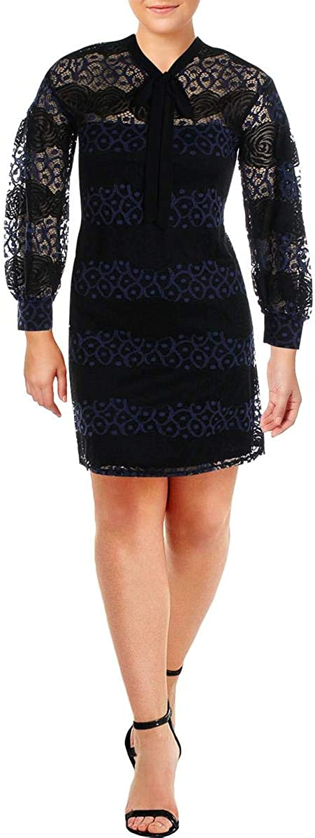 Gabby Skye Special sale item trust Women's Long Sleeved Round Neck A-line Lace Dress