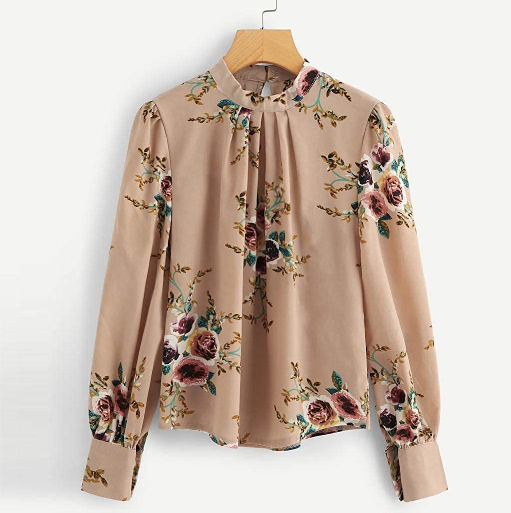 F/_topbu T-Shirt for Women Long Sleeve Round Neck Tops Floral Printed Blouse Casual Loose Pullover Shirts