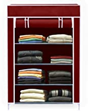 Aysis Collapsible Wardrobe Organizer, Storage Rack for Kids and Women, Clothes Cabinet, Bedroom Organiser (Need to Be Assembled) (4-Layer-Maroon)