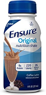 Ensure Original Nutrition Shake with 9 grams of protein, Meal Replacement Shakes, Coffee Latte, 8 fl oz (Pack of 24)