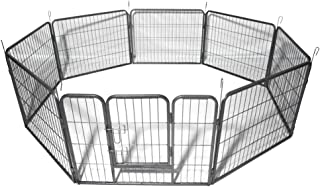 Auxega Dog Playpen - Pet Dog Puppy Cat Exercise Fence Barrier Playpen Kennel Heavy Duty Portable Metal Pets Playpen 16 Panels for Outdoor Indoor 31.5 inch x 24 inch (Silver)
