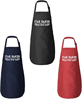 Funny Threads Outlet Star Baker GBBO Amateur Baker American British Baking Show Pastry Chef Gift Kitchen Apron (Red)