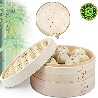 Handmade Bamboo Steamer, 2 Tier Baskets Bamboo Steamer, Healthy Cooking for Vegetables, Dim Sum Dumplings, Buns, Chicken Fish & Meat Included Chopsticks