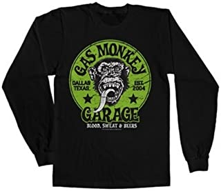 Gas Monkey Garage Officially Licensed Green Logo Long Sleeve Tee (Black)
