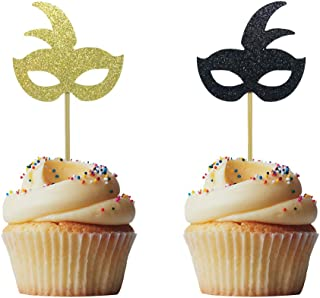 Morndew 24 PCS Gold and Black Masquerade Masks Cupcake Topper for New Year's Party Birthday Party Wedding Party Decorations