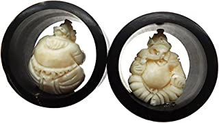Sitting Ganesh Pair Double Flare Wood & Bone Ear Plug Gauges - Nog-147