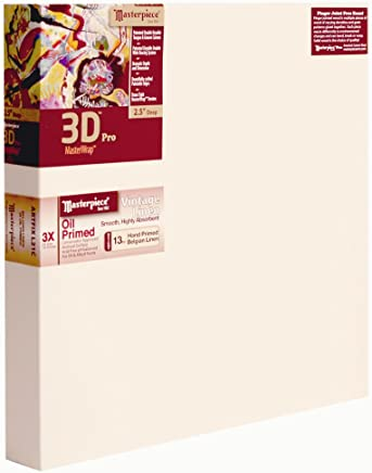 "Masterpiece Artist Canvas 46151 3D PRO 2-1/2"" Deep, 24"" x 30"", Linen 13.0oz - 3X - Vintage Oil Primed"