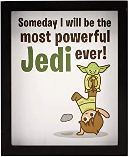 Open Road Brands Star Wars Cute Motivational Cartoon Jedi MDF Wood Framed Wall Art - Officially Licensed Product - Perfect Size and Addition to You Home Decor
