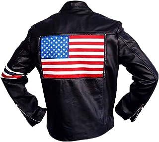 Peter Fonda Easy Rider American Star Biker Black Sheep Leather Jacket with USA Flag