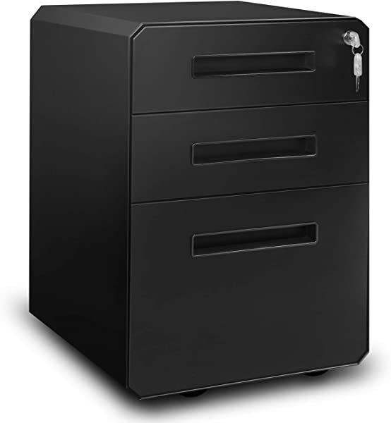 M W 3 Drawer Mobile File Cabinet Metal Locking Letter Filing Cabinet