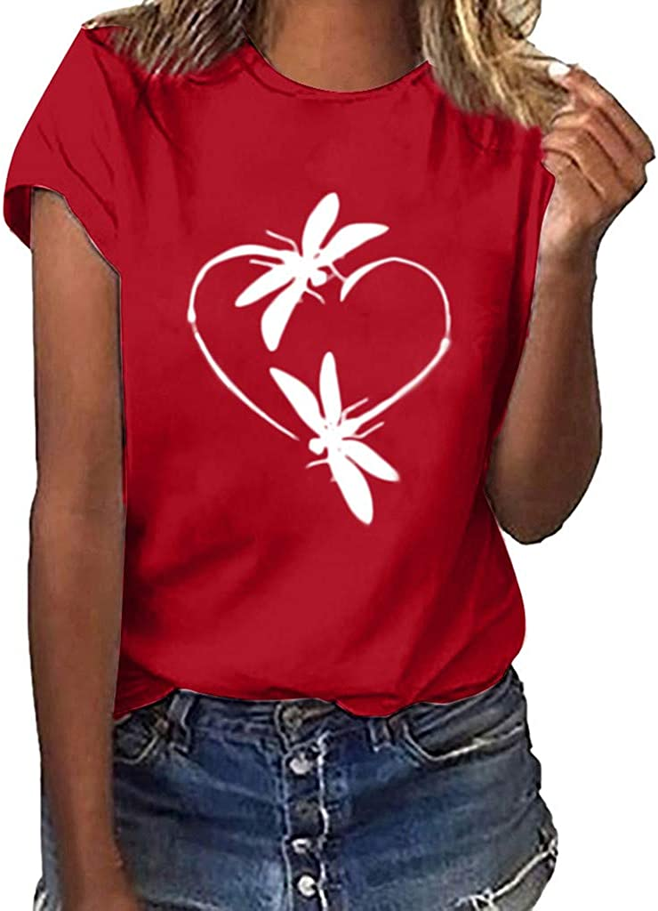 Valentines Day Shirts Women Womens Valentine's Day Graphic Shirts Buffalo Leopard Love Heart Printed Shirts Tee Tops Red