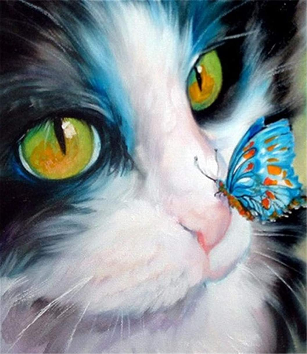 YEESAM ART DIY Paint by Numbers for Adults Beginner Kids, Animal Cat Head and Blue Butterfly 16x20 inch Linen Canvas Acrylic Stress Less Number Painting Gifts (Cat, with Frame) pprcc2645
