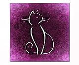 Berger Designs - Katzen Silhouette auf Leinwand und Keilrahmen. Hochwertiger Kunstdruck als Wandbild. Beste Qualität - handgefertigt in Deutschland (50 x 50 cm, Lila)