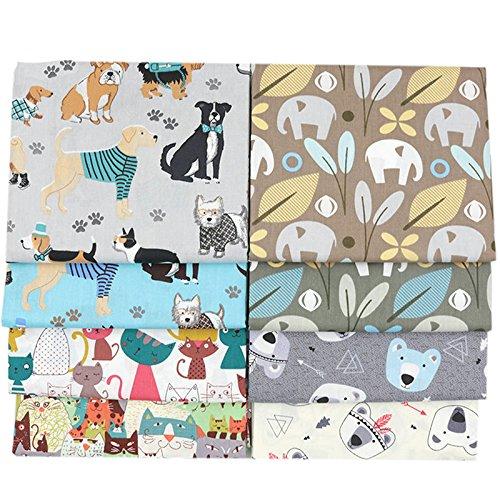 BYY Tela algodon Telas Patchwork 8 piezas 40 x 50 cm - Retales Tela para coser, Telas decorativas Costura y Manualidades por metros OEKO-TEX