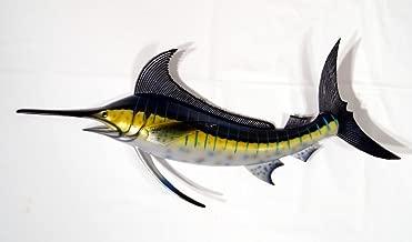 Hand Painted Jumbo Striped Blue Marlin Salt Walter Game Fish Wall Mount Decor Plaque 48