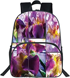 Oobon Kids Toddler School Waterproof 3D Cartoon Backpack, Blooming Iris Flowers Orchids on Rustic Wood Natural Floral Beauty Romantic Image, Fits 14 Inch Laptop