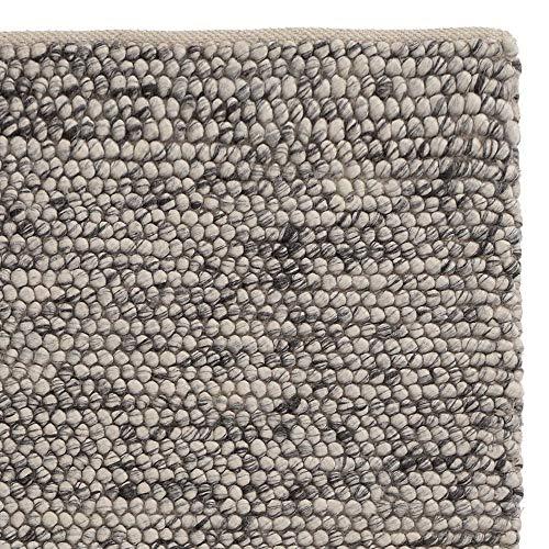 URBANARA Läufer Teppich Ravi - Eierschale/Grau 70 x 180 cm 70% Schurwolle 30% Viscose Wohnzimmer Teppich Handgewebter Wollteppich Mit Mellierung Und Moderner Grober Struktur