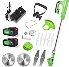 YASSIMY Cordless Grass Trimmer Lawn Mower, Electric Garden Handheld Strimmer with 18V Lithium-ion Battery, 2 Blades