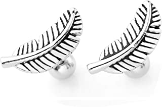 2pc Stainless Steel Silver Gold Barbell Feather Cartilage Helix Stud Earrings 16 Gauge 5/16