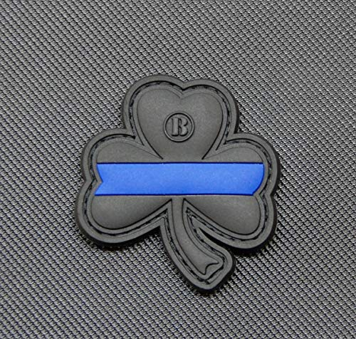 BritKitUSA Thin Blue Line Clover PVC Morale Patch Hook Backing