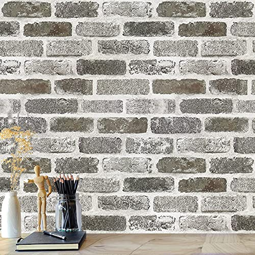 "Brick Wallpaper Peel and Stick Wallpaper17.7""x 78.7""White Gray Brick Peel and Stick Wallpaper Faux Brick Wallpaper Self Adhesive Wall Paper Brick Contact Paper for Kitchen Removable Backsplash Vinyl"