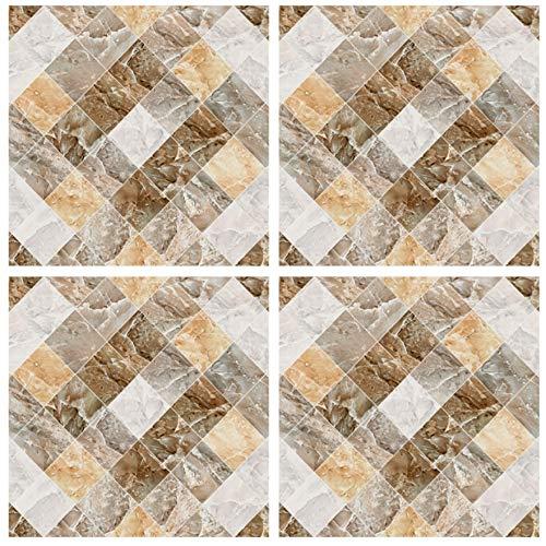 12 Pegatinas Mosaico 15 cm Color Crema Efecto mármol