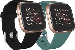 Ouwegaga Compatibel met Fitbit Versa Bandje/Fitbit Versa 2 Bandje, Zachte Siliconen Sport Vervangings Bandjes Compatibel m...