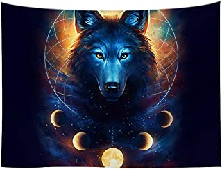 WCHUANG Blue Universe Galaxy Tapestry, Magic Wolf in The Space Tapestry Wall Hanging for Bedroom Living Room Dorm Wall Art Bohemian Bedspread, 51