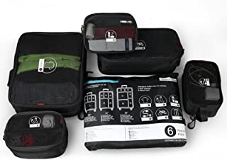 Rockland - Juego de 6 cubos para equipaje, Negro, Una talla