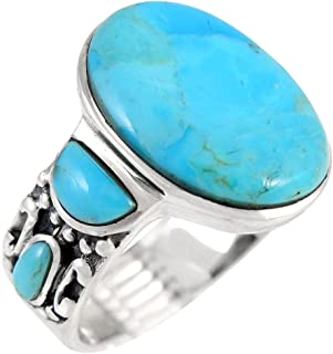 Turquoise Rings Sterling Silver 925 & Genuine Turquoise (SELECT COLOR)