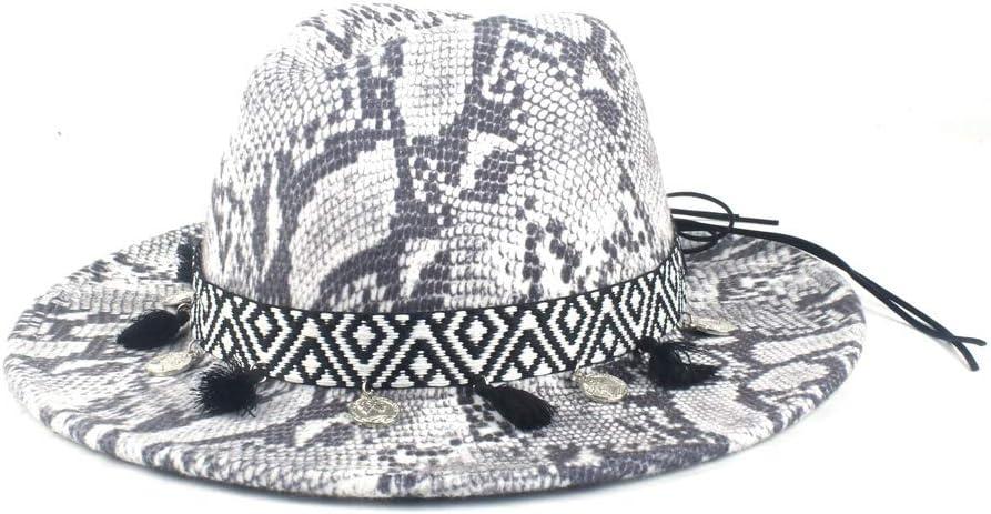 No-branded Winter Wool Cap Men's Women's Fedora Hat Wool Polyeste Leopard Winter Elegant Hat Tassel Decoration Fashion ZRZZUS (Color : 3, Size : 56-58cm)