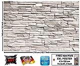 Great Art Revêtement mural - Motif mur de pierre blanche 210cm x 140cm