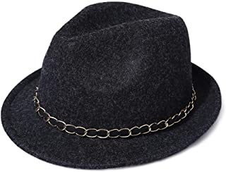 Lei Zhang Felt hat Fashion Metal Chain Outdoor Warm Beautiful hat (Color : 2Grey, Size : M56-58cm)