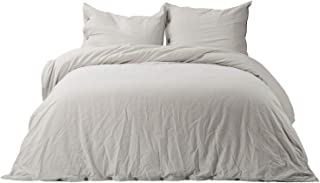 Bedsure 45% Cotton 55% Linen Duvet Cover Queen with 2 Pillow Shams - Full Size(90x90 inch), 3 Piece Ultra Soft Breathable Beding Comforter Cover Sets with Button Closure, Greige Natural Color