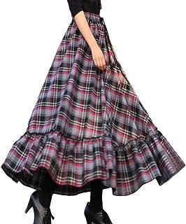 Minetom Gonna A Quadri Lunga A Vita Alta Donna Elegante Retro Gonna Vintage Pieghettati Maxi Gonna A Quadri Lunga Gonna