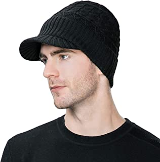 Comhats Wool Knit Visor Beanie Winter Hat Cuff Jeep Cap Lined Soft Warm Unisex