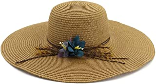 Summer hat Summer Chaff Hat Ladies Big Wing Broad Beach Sun Hat Panama Hat Outdoor Leisure hat (Color : Coffee, Size : 56-58CM)